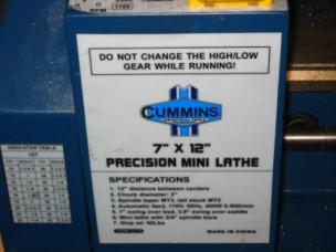 Cummins Mini Lathe Box Cover
